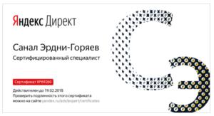 Сертификат специалиста Яндекс Директ